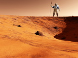 Astronaut on Edge of Martian Crater