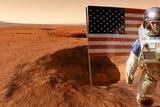 Astronaut on Mars with US Flag  Artwork