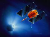 Artwork of Deep Impact Mission Encountering Comet