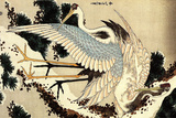 Katsushika Hokusai Two Cranes on a Pine Covered with Snow Plastic Sign