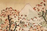 Katsushika Hokusai Mount Fuji Behind Cherry Trees and Flowers Plastic Sign