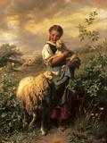 La jeune bergère Giclée premium par Johann Baptist Hofner