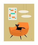 Mid Century Cat in Orange Chair