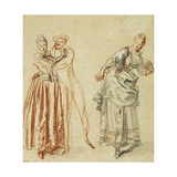 A scene from the Commedia dell'Arte: A girl resisting the advances of a comedian