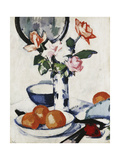 Pink and Tangerine Roses in a Blue and White Beaker Vase with Oranges in a Bowl and a Black Fan