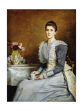 Portrait of Mrs Joseph Chamberlain  wearing a grey and white dress