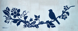 Blue Floral and Bird I