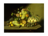 A Still Life with a Basket of Grapes and Mixed Fruit on a Stone Ledge