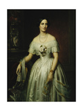Portrait of a Lady Standing Three-Quarter Length Wearing a White Dress