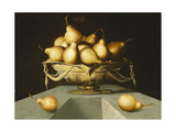 Pears in a Bowl on a Stone Plinth