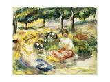 Three Girls Sitting on the Grass