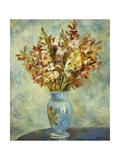 Gladioli in Blue Vase