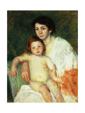 Nude Baby on Mother's Lap Resting Her Right Arm on the Back of the Chair