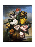 Tulips in a Vase  with a Caterpillar  a Snail  and a Fly  on a Plinth in a Landscape