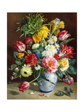 Tulips  Roses  Narcissi and other Flowers in a Blue and White Vase