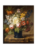 Flowers in a Vase on a Marble Ledge with a Red Admiral  a Bumble Bee  Two Beetles and a Dragonfly