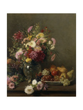 Chrysanthemums in a Glass Vase and a Bowl of Fruit on a Table