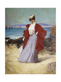 An Elegant Lady on a Seashore