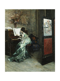 A Lady Playing the Piano in an Interior
