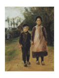 Young Boy and Girl on the Village Street