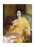 Portrait of Elsa  Daughter of William Hall  seated wearing a Pink Dress and Yellow Wrap