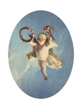 A Putti in Flight Holding a Wreath and a Torch