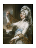Portrait of Sarah  wife of Walker King  Bishop of Rochester  in a white dress with a blue sash