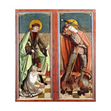 Saint Martin and the Beggar; and Saint George and the Dragon - the wings of an altarpiece