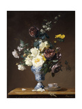 Roses and Other Flowers in a Blue and White Vase and a Teacup on a Ledge