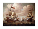 The English and Dutch Fleets exchanging Salutes at Sea