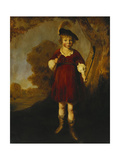Portrait of a Young Boy as a Shepherd  Standing Full Length  in a Landscape