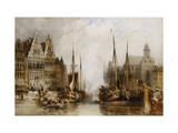 Houses of the Franc Bateliers and Church of St Nicholas on the Canal at Ghent