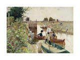 Boaters in a Lock on the Thames
