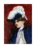 Elegant Woman with Feather Hat