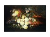 Still Life with Roses  Chrysanthemums  Grapes and Strawberries
