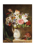 Roses Tulips and other Flowers in a Porcelain Tankard on a Draped Ledge
