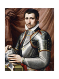 Portrait of a Knight of Malta  in armour  holding a helmet on a table