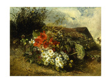 Wild Flowers on a Bank with a Cottage Beyond