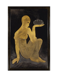 Perfume'  a gilt and lacquer panel depicting a maiden scantily clad in an oriental style shawl
