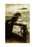 Lady in Black by the Sea