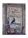 Black Cat on the Railing of a Window