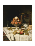 Peaches in a Dresden Tazza  Grapes  Apples  Hazelnuts and Biscuits on a Draped Table