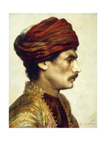 Profile Portrait of a Man in a Red Turban