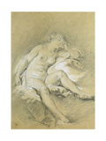 Nude Young Woman Sitting  Asleep