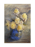 Peonies in a Blue Vase