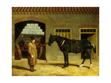 A Cart Horse and Driver Outside a Stable