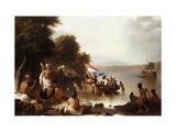 Landing of Henry Hudson  1608 at Verplanck Point  Near Peekskill  New York