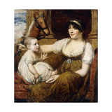A Mother Holding a Hobbyhorse  Playing with her Child