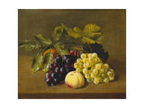 A Peach  an Orange and Grapes on a Wooden Ledge