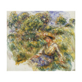 Woman in a Blue Hat sitting on the Grass